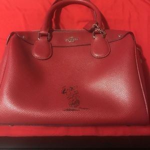 Coach Snoopy Mini Bennett Red Leather